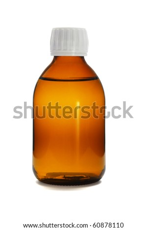 Liquid medicine in glass bottle on white background - stock photo