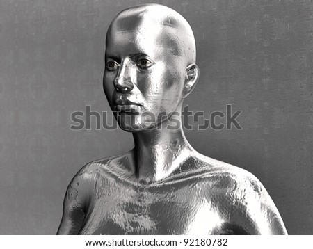 Liquid Metal Android In Front Of The Wall 12 - stock photo