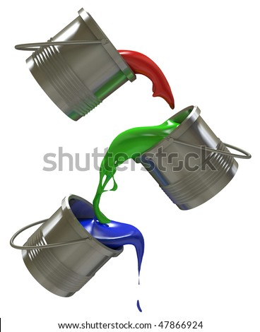 Liquid paint flow RGB. Red, green, blue. - stock photo