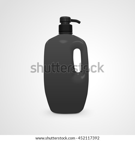 liquid soap and shower gel plastic bottle isolated on white background. 3D illustration.