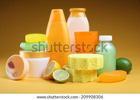 Liquid soap, cream, salt for bath - stock photo