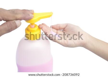 Liquid soap pump dispenser. - stock photo