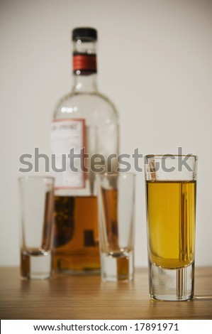 Liquor glass and bottle - stock photo