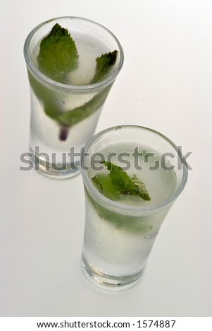 Liquor shots with mint