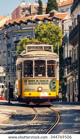 LISBON -AUGUST 7:  Famous old tram on August 7, 2015  in Lisbon, Portugal. The Lisbon tramway network operates since 1873 and presently comprises five urban lines.