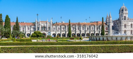 LISBON -AUGUST 8:  The Jeronimos Monastery on August 8, 2015  in Lisbon, Portugal. The monastery is one of the most prominent examples of the Portuguese Late Gothic  in Lisbon. - stock photo