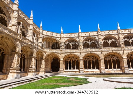 LISBON -AUGUST 8:  The Jeronimos Monastery on August 8, 2015  in Lisbon, Portugal. The monastery is one of the most prominent examples of the Portuguese Late Gothic Manueline style in Lisbon - stock photo