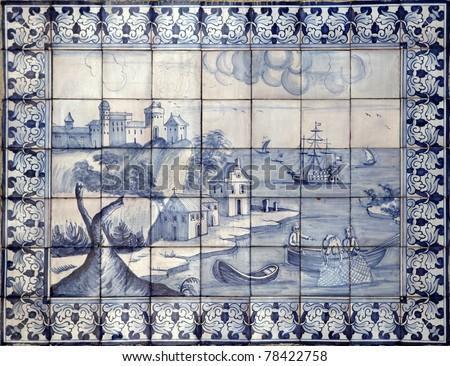 Lisbon azulejos on old house - stock photo