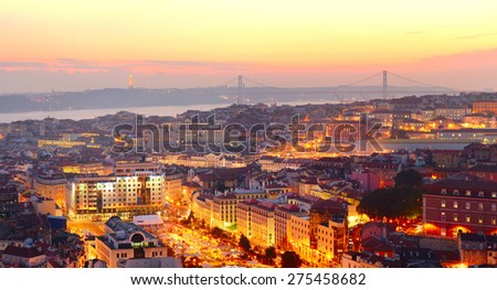 Lisbon city center at sunset. Portugal