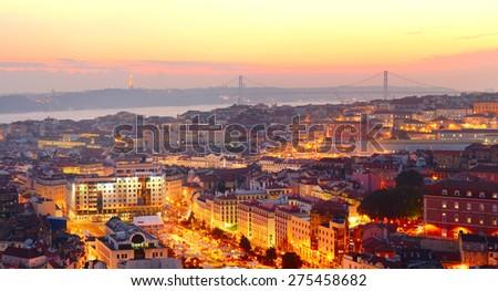 Lisbon city center at sunset. Portugal - stock photo