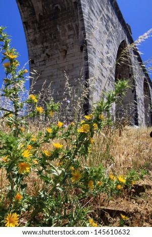 Lisbon  historic aqueduct - stock photo