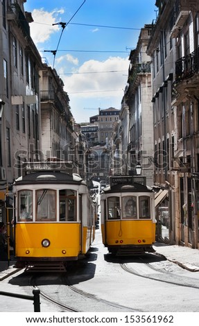 Lisbon historical trams, Portugal  - stock photo