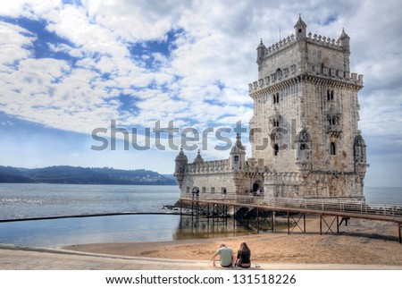 LISBON - MARCH 26: Panoramic view on Belem Tower on the bank of Tagus River March 26, 2009 in Lisbon, Portugal.