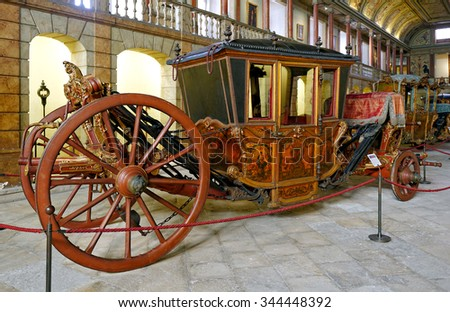 LISBON - NOVEMBER 10, 2015:Spanish Ceremonial Coach from 18th Century, it belonged to Queen Carlota Joaquina, presented at National Coach Museum (Museu dos Coches), the most visited museum in Portugal - stock photo