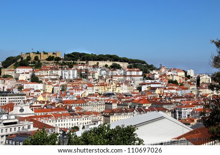 Lisbon panorama, Portugal �¢?? buildings, roofs, churches - stock photo
