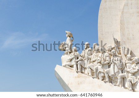 LISBON, PORTUGAL - APRIL 24: Close up of the Discovery monument in the Belem district in Lisbon, Portugal on April 24, 2017