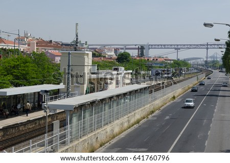 LISBON, PORTUGAL - APRIL 24: View at Belem train station and Avenida da India in the distrct Belem in Lisbon, Portugal on April 24, 2017