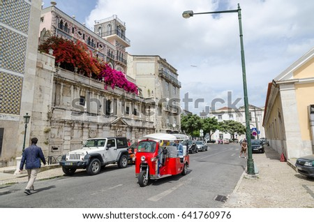 LISBON, PORTUGAL - APRIL 25: View from the street Rua Cais de Santarem in the district Alfama in Lisbon, Portugal on April 25, 2017