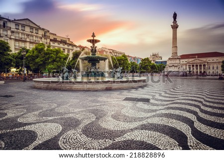 Lisbon, Portugal at Rossio Square. - stock photo