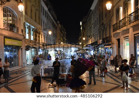 LISBON, PORTUGAL - AUG 19: Streets of Lisbon in Portugal, as seen on Aug 19, 2016. It is the capital and the largest city of Portugal.
