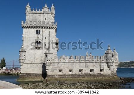Lisbon, Portugal - Belem tower (gothic style) - stock photo