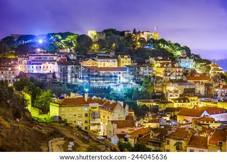 Lisbon, Portugal cityscape and hillside of Sao Jorge Castle. - stock photo