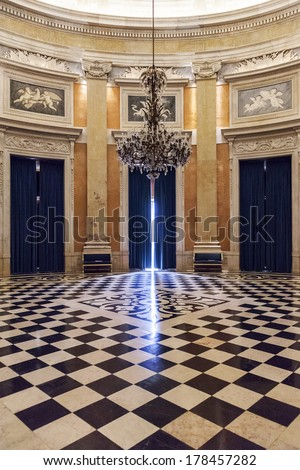 Lisbon, Portugal, December 02, 2013: Ambassador or Archer Hall of the Noble Floor in Ajuda National Palace. 19th century neoclassical Royal palace - stock photo