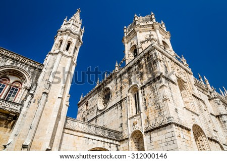 Lisbon, Portugal. Detail of gothic-style medieval Mosteiro dos Jeronimos in Belem district of portuguese capital. - stock photo