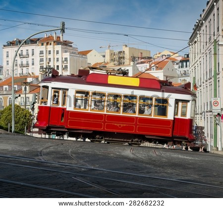 Lisbon, Portugal - February 27, 2015. Lisbon Hills Tramcar Tour in Bairro Alto district The red line is the tourist line that connects the hills of the city. Lisbon, Portugal.