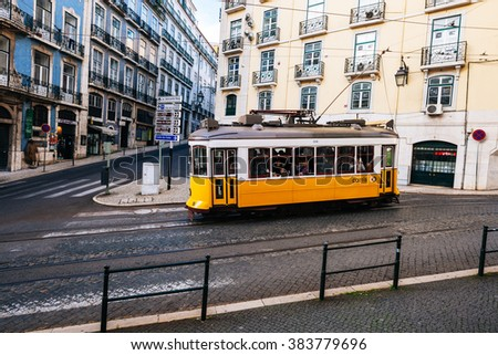 LISBON, PORTUGAL - FEBRUARY 03, 2016: Old traditional tram in Lisbon, Portugal - stock photo