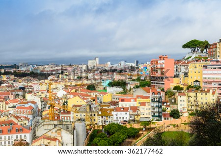 Lisbon, Portugal - January 7: Lisbon cityscape - traditional architecture, Alfama district in January 7, 2016 in Lisbon, Portugal.