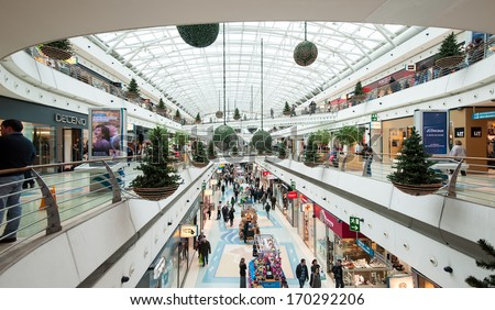 LISBON, PORTUGAL - JANUARY 2, 2014: Vasco da Gama Shopping Center. Situated in the Park of the Nations in Lisbon, the building is part of a large project by Santiago Calatrava.  - stock photo