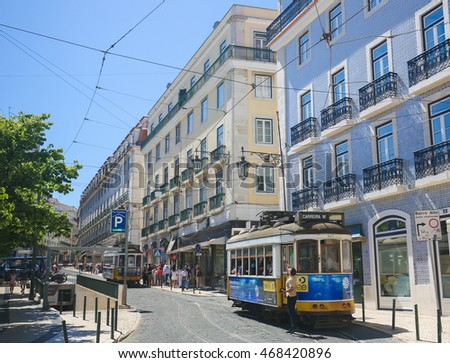 LISBON, PORTUGAL - JULY 13, 2016: A tram in Bairro Alto, a central district of Lisbon, Portugal