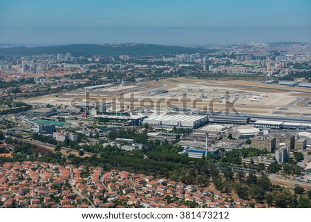 LISBON, PORTUGAL - JUN 22,2015:Aerial view of the airport in Lisbon, Portugal on june 22,2015. Lisbon Portela Airport, is the main international gateway to Portugal and opened in 1942.
