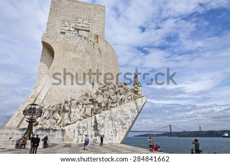 LISBON, PORTUGAL - JUNE 10, 2013: Monument to the Discoveries located in the Belem district of Lisbon city, Portugal. Celebrates the Portuguese who took part in the Age of Discovery