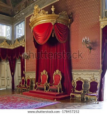 Lisbon, Portugal, June 10, 2013: The Throne Room of the Ajuda National Palace, Lisbon, Portugal - 19th century neoclassical Royal palace. - stock photo