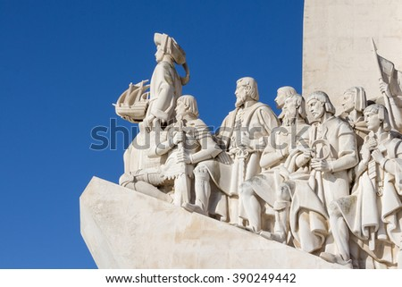 LISBON, PORTUGAL,- MARCH, 04, 2016:Monument of the Discoveries, Monument built for the portuguese world exhibition of 1940, as a memory to the discoveries made by Portugal and Vasco da Gama