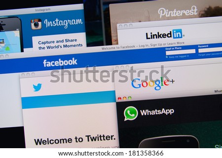 LISBON, PORTUGAL - MARCH 13, 2014: Photo of Pinterest, Twitter, Facebook, Google+, Linkedin, Whatsapp and Instagram homepage on a monitor screen. These are popular social networking websites. - stock photo