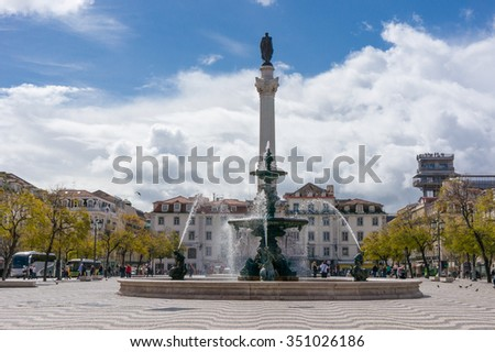 Lisbon, Portugal March 24, 2013: Rossio square with Statue of Dom Pedro IV, Lisbon Portugal