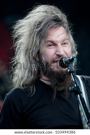 LISBON, PORTUGAL - MAY 25: Mastodon performing on stage in day 1 of Rock in Rio Lisboa May 25, 2012 in Lisbon, Portugal