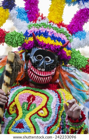 Lisbon, Portugal - May 10, 2014: Parade of costumes and traditional masks of Iberia at the VIII International Festival of Iberian Masks. - stock photo