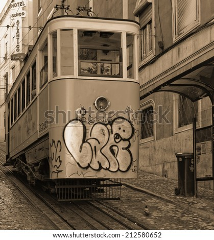 Lisbon, Portugal - May 14: The traditional tram in Lisbon on May 14, 2014. The first tramway in Lisbon entered service on 17 November 1873. Portugal, Europe. - stock photo