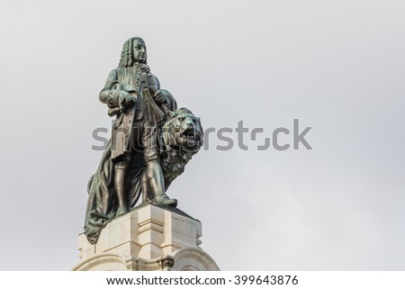 Lisbon, Portugal, monument on the Marques de Pombal square - stock photo