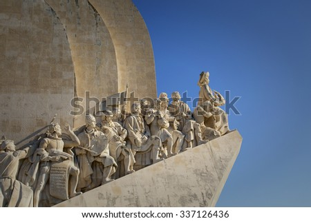 LISBON-PORTUGAL NOVEMBER 8, 2015: Detail of the Monument to the Discoveries in Lisbon, Portugal. Inaugurated in 1960 for the 500th anniversary of Henry the navigator, important figure of 15th-century.