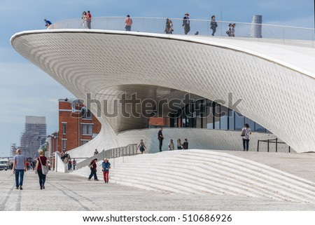 LISBON, PORTUGAL - NOVEMBER 2: fragment of the new modern building of MAAT, one of the most popular museums in the city, located close to Tejo river in Belem, Lisbon, Portugal on November 2, 2016.