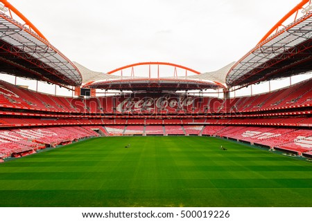 LISBON, PORTUGAL - OCT 17, 2016: Panorama of the Coca Cola logo at the Estadio da Luz (Stadium of Light), home stadium for the S.L. Benfica. It was built for the EURO 2004