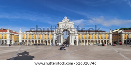 Lisbon, Portugal - October 24, 2016: Commerce square, one of the most important landmarks of the Portuguese capital, with the famous Triumphal Arch.