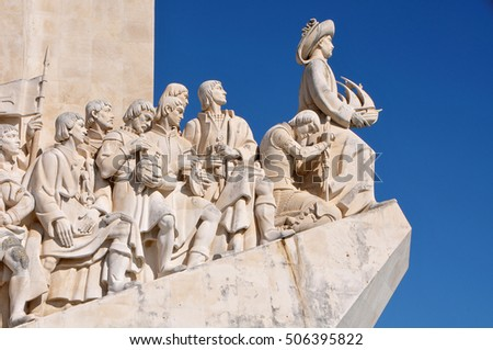 LISBON, PORTUGAL - OCTOBER 03, 2012: Detail of the sculptures of famous sailors, at the monument to the Discoverers, in the neighborhood of Belem