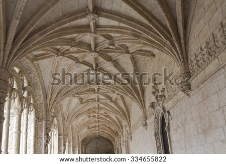 LISBON, PORTUGAL - OCTOBER 24 2014: Looking up at the vaulted ceiling of Interior courtyard of the Jeronimos Monastery of Lisbon, Portugal
