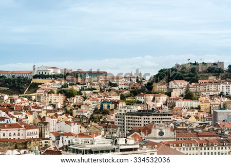 LISBON, PORTUGAL - OCTOBER 19, 2015: The beautiful colorful and vibrant cityscape of Lisbon, the capital of Portugal on a sunny autumn day. - stock photo